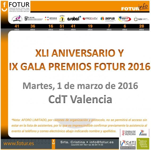 XLI Aniversario y IX Gala Premios Fotur 2016